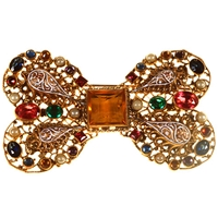 Alice Joseph Vintage 1920S Filigree Bow Gilt Plated Brooch Multi
