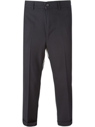 Lardini Cropped Tailored Trousers Blue