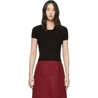 Alexander Mcqueen Black Off The Shoulder Short Sleeve Sweater