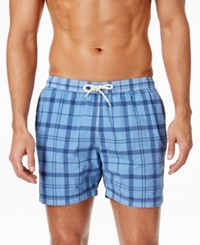 Barbour Men's John Plaid Swim Trunks Blue