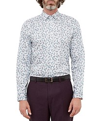 Ted Baker Thepais Paisley Regular Fit Button Down Shirt White