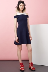 Chloe Sevigny For Opening Ceremony Veronica Rib Off Shoulder Flare Dress Navy