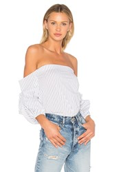 1.State Off Shoulder Voluminous Sleeve Top White