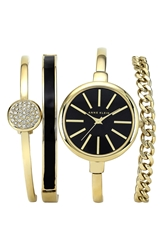 Anne Klein Round Watch And Bangle Set 32Mm Gold Black
