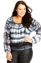 City Chic Tie Dye Print Embellished Neck Top Plus Size Slate