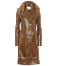 Chloe Shearling Lined Leather Coat Brown