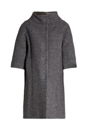 Herno Detachable Sleeved Funnel Neck Boucle Coat Grey