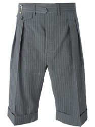 Wooster Lardini Pinstripe Pleated Shorts Grey