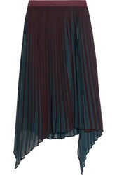 By Malene Birger Wikk Pleated Asymmetric Georgette Skirt Burgundy