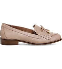 Office Filtered Fringe Detail Leather Loafers Nude Leather