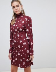 Fashion Union Skater Dress With High Neck In Vintge Floral Burg Floral Red