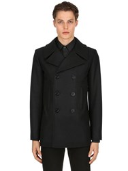 Saint Laurent Double Breasted Wool Cloth Peacoat Black