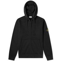 Stone Island Brushed Fleece Zip Hooded Sweat Black