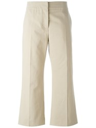 Marni Cropped Kick Flare Trousers Nude And Neutrals