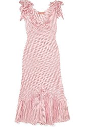 Maggie Marilyn You Can Hold Your Own Ruffled Polka Dot Silk Satin Dress Baby Pink