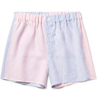 Emma Willis Two Tone Slub Linen Boxer Shorts Light Blue