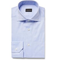 Ermenegildo Zegna Blue Cotton Oxford Shirt Blue
