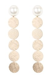 14Th And Union Multi Disc Faux Pearl Linear Earrings Metallic