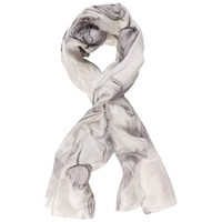 Chesca Abstract Floral Printed Silk Scarf Grey