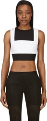 Richard Nicoll White And Black Waffle Cotton Bib Front Crop Top