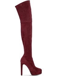 Casadei 120Mm Stretch Suede Over The Knee Boots Bordeaux