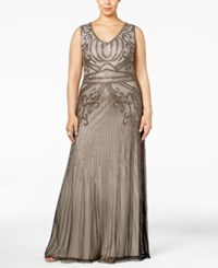 Adrianna Papell Plus Size Beaded A Line Gown Platinum