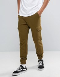Asos Skinny Joggers With Cargo Pocket In Khaki Fawn Green