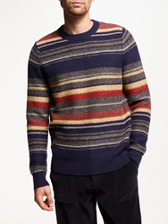 John Lewis And Co. Placement Stripe Wool Jumper Navy Multi