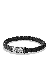 David Yurman Chevron Bracelet In Black With Black Diamonds Silver White Diamonds