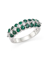 Bloomingdale's Diamond And Emerald Band Ring In 14K White Gold White Green