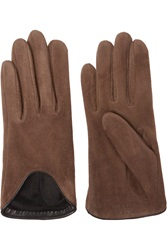 Rag And Bone Moto Leather Trimmed Suede Gloves