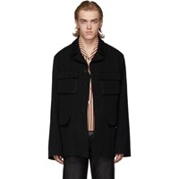 Ann Demeulemeester Black Wool Military Jacket