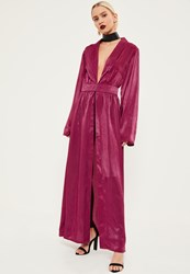Missguided Pink Crushed Satin Waist Detail Duster Coat