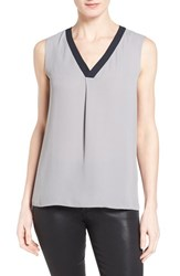 T Tahari Women's 'Julie' V Neck Sleeveless Blouse Silverpoint Navy