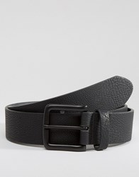 Asos Wide Belt In Faux Leather With Black Coated Buckle Black