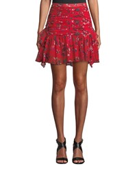 Tanya Taylor Abby Ruched Floral Flounce Mini Skirt Red