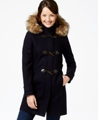 Nautica Faux Fur Trim Duffle Coat Navy
