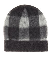Balenciaga Plaid Wool Blend Hat Grey