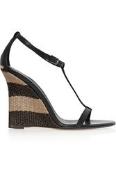 Burberry Leather And Raffia Wedge Sandals Black