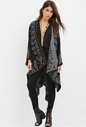 Forever 21 Paisley Patterned Shawl Black Grey