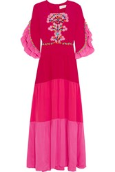 Peter Pilotto Lace Paneled Tiered Silk Gown Fuchsia