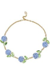 Red Valentino Gold Tone Crystal And Resin Necklace Sky Blue