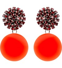 Marni Crystal And Resin Clip On Earrings Red