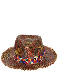 Etro Printed Hat W Fringe Brown
