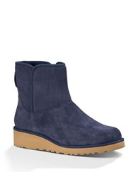 Ugg Kristin Sheepskin Wedge Ankle Boots Navy Blue