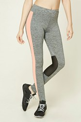 Forever 21 Active Marled Knit Leggings Charcoal Peach