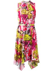 Versace Collection Belted High Low Hem Dress Pink Purple