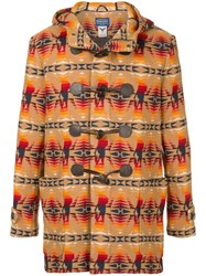 Hysteric Glamour Printed Duffle Coat Wool Brown
