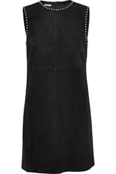 Miu Miu Studded Suede Mini Dress Black