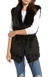 Love Token Longline Genuine Rabbit Fur Vest Black